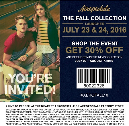 Coupon for: Shop new collection with discount at Aéropostale