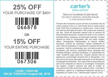 Coupon for: Save big at U.S. carter's stores