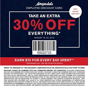 Coupon for: Everything on sale at Aéropostale stores