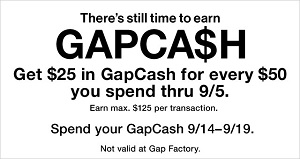 Coupon for: Earn U.S. GapCash