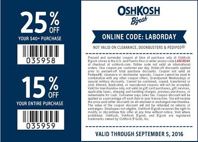Coupon for: Labor Day Sale at OshKosh B'gosh