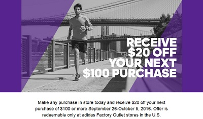 Coupon for: Save money at adidas Outlet Stores