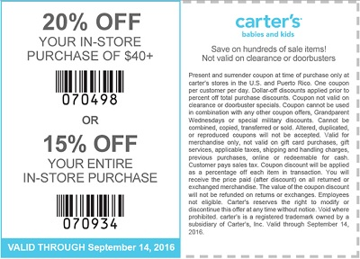 Coupon for: Print the coupon and save money at carter's