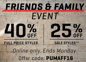 Coupon for: Friends & Family Sale Event at PUMA