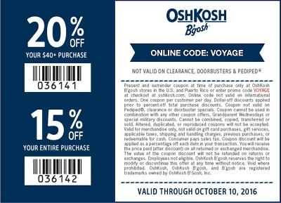 Coupon for: U.S. OshKosh B'gosh offer: Columbus Day Sale 2016