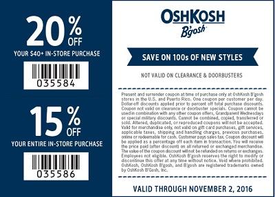 Coupon for: U.S. OshKosh B'gosh Sale: shop with printable coupon