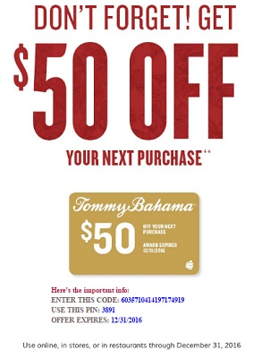 Coupon for: U.S. Tommy Bahama Deal: Receive discount on your purchase