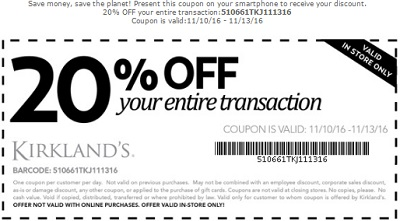 Coupon for: Veteran's Day Sale is still on at U.S. Kirkland's