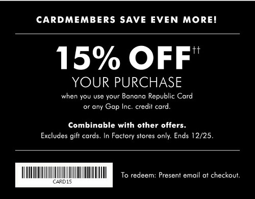 Coupon for: Save big right now at Banana Republic Factory Stores
