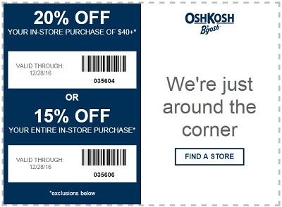 Coupon for: Shop with printable coupon at U.S. OshKosh B'gosh stores