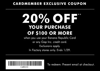 Coupon for: Special offer for Banana Republic Cardmembers