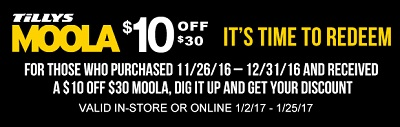 Coupon for: Redeem your TILLYS Moola right now