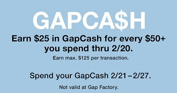 Coupon for: U.S. Gap Deal: GapCash is back