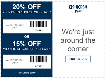 Coupon for: Save up to extra 20% off purchase at OshKosh B'gosh stores