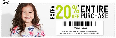 Coupon for: Crazy 8 printable coupon: Extra 20% off