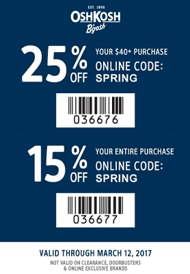Coupon for: Print the coupon and save money at OshKosh B'gosh stores