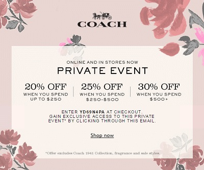 Coupon for: Shop Coach Private Event right now