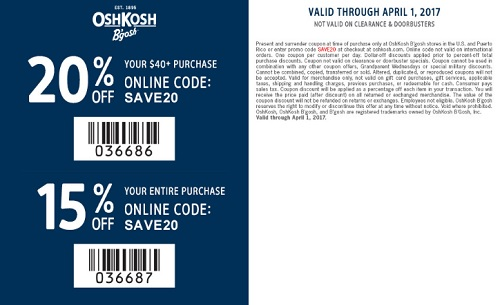 Coupon for: U.S. OshKosh B'gosh Deal: Up to 20% off