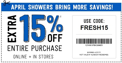 Coupon for: April showers bring new savings at U.S. Crazy 8