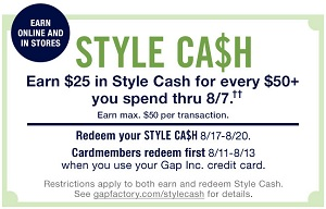 Coupon for: Style Cash is back at U.S. Gap Factory