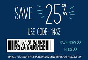 Coupon for: U.S. maurices: Save 25% off your purchase