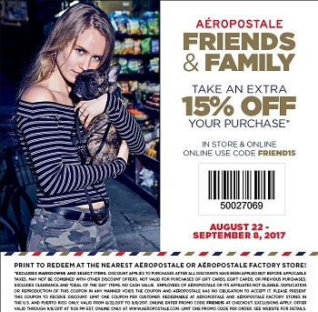Coupon for: Save money with U.S. Aéropostale printable COUPON