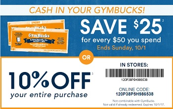 Coupon for: Use printable coupon or GymBucks and save at U.S. Gymboree stores