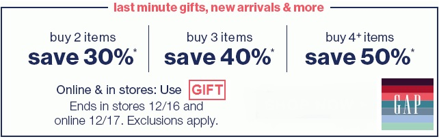 Coupon for: Gap, Last minutes gifts ...