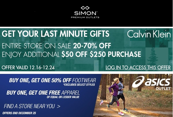 Coupon for: Premium Outlets, Last minute gifts