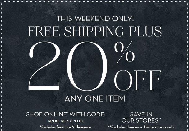 Coupon for: Pottery Barn, Last day of special savings