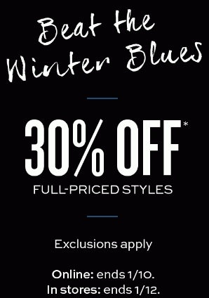 Coupon for: Banana Republic, Beat the winter blues