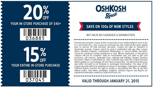 Coupon for: OshKosh B'gosh, Ginormous Clearance
