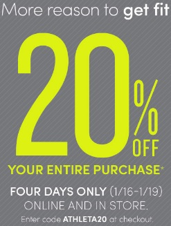 Coupon for: Athleta, 20% off everything