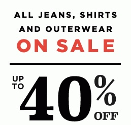 Coupon for: Old Navy, All jeans, shirts and outerwear on SALE