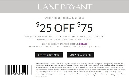 Coupon for: Lane Bryant, Up to $75 off your purchase