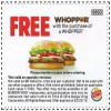 Coupon for: Burger King, Get whopper for free