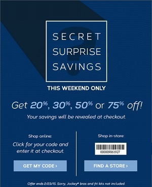 Coupon for: Jockey, Secret Surprise Savings