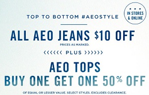 Coupon for: American Eagle Outfitters, BOGO Sale