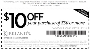 Coupon for: Kirkland's Printable Coupon, $10 off