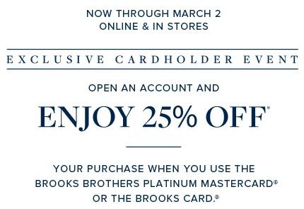 Coupon for: Brooks Brothers, Cardholder Event