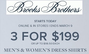Coupon for: Brooks Brothers, buy 3 items for special price
