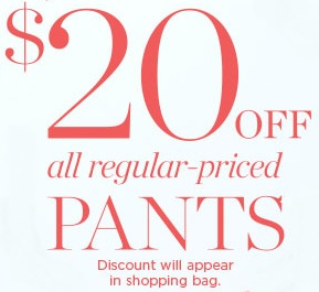 Coupon for: Talbots, Pants collection with discount