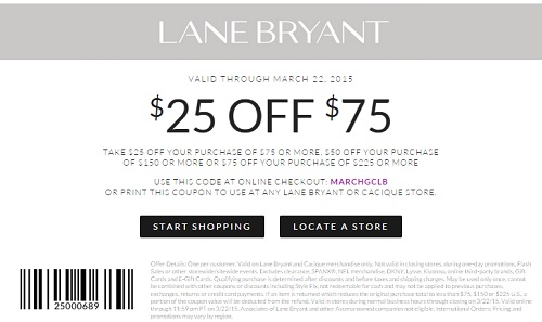 Coupon for: Lane Bryant, Spend more, save more
