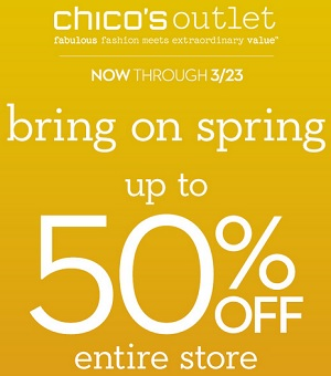 Coupon for: Chico's Outlets, Entire store on sale