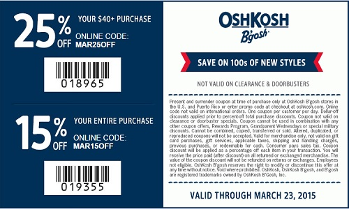 Coupon for: OshKosh B'gosh, Spring styles with discounts