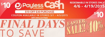 Coupon for: Payless ShoeSource, Easter Sale + Payless Cash
