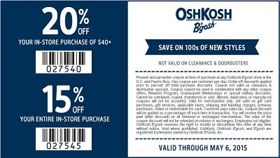 Coupon for: OshKosh B'gosh, Receive an extra discount
