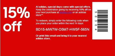 Coupon for: adidas, Special birthday gift for you