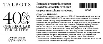 Coupon for: Talbots, Friends & Family Sale