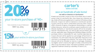 Coupon for: carter's, Memorial Day Sale 2015